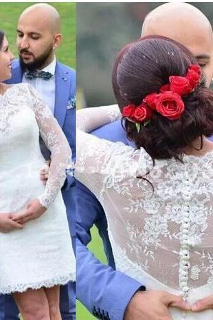 Vintage Lace Short Wedding Dresses 2018 Long Sleeves Bridal Gowns Sheer Button Back Short Summer Wedding Gowns Custom Made