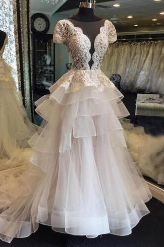 Gorgeous Tiered Skirts Lace Tulle Wedding Dresses With Sleeves 2018 Plus Size A Line Illusion Bodice Sheer Neck Backless Bridal Gowns