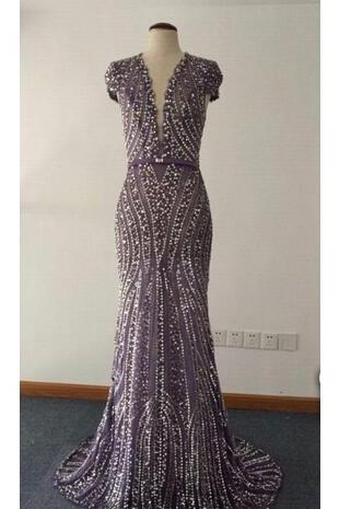 High Quality Mermaid Long Evening Dress Party Dress Deep V Neck Cap Sleeve with Beads Vestido De Festa Floor Length
