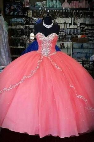 Vintage Coral Quinceanera Dresses Cheap Puffy Skirt Prom Dresses Ruffles Layers Tulle Sweetheart Sweet 16 Dress Party Ball Gowns