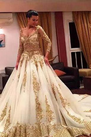 African Traditional 2018 Wedding Dresses Gold Applique Formal Long Sleeves Bridal Gowns Organza Sweep Train Arabic Vestidos