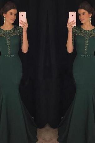 Dark Green Evening Dresses Kaftan Abaya Middle East Saudi Arabia Indian Lady Mermaid Prom Dresses Dress for Party Wear Plus size
