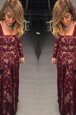Burgundy Bateau Neck Long Sleeves Lace Mother of the bride dresses long with Sash A Line Lady Formal Dress Evening Party Gown