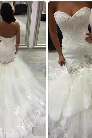 Sexy Romantic Sleeveless Mermaid Wedding Dresses Lace Appliques Beaded Tired Skirt Bridal Gowns Zipper Back Robe De Mariee Tulle Wedding
