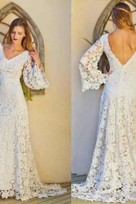 Vintage Crocheted Lace Sheath Bohemian Hippie Wedding Dresses V Neck Long Sleeves Sexy Open Back Summer Beach Garden Bridal Wedding Gowns