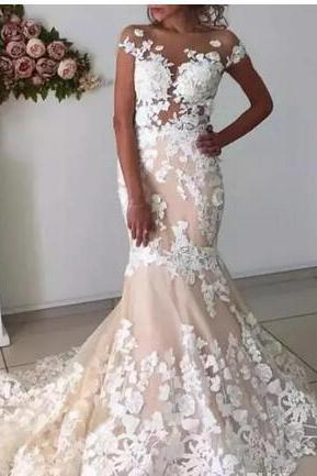 bridal Wedding Dresses See through mermaid sexy lace champagne summer wedding dress modest cheap wedding gown