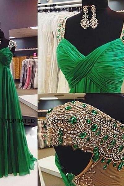2018 Amazing Crystal Bead Sequins Luxury Evening Dresses Prom Wear Sheer Back Mermaid Gorgeous Evening Gowns Cap Sleeve