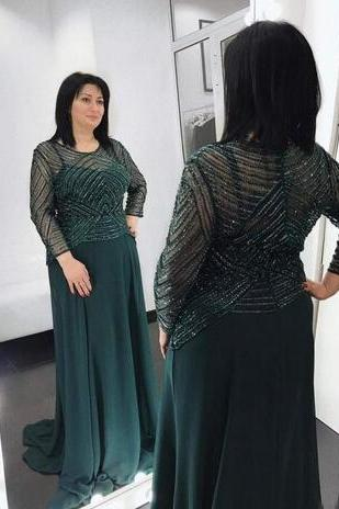 Dark Green 2018 Luxury Beaded Crystal Mother Of Bride Dresses Long Sleeve Chiffon Floor Length Formal Evening Party Gowns Custom Made