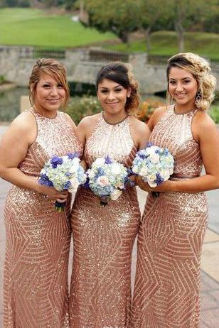 Rose Gold Stripe Sequin Mermaid Bridesmaid Dresses 2018 Plus Size Jewel Neck Plus Size Country Garden Maid Of Honor Wedding Guest Party Gown