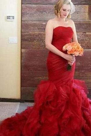 Dark Red Mermaid Wedding Dresses Strapless Sleeveless Ruched Top Ruffles Skirt Tulle Colorful Bridal Gowns Custom Made