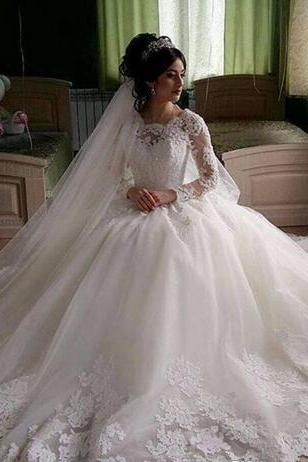 Vestido De Noiva Vintage Muslim Wedding Dresses Lace Long Sleeves Ball Gown Tulle Appliques Beading Elegant Bridal Gowns