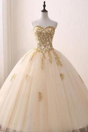Real Images Gold Appliqued Ball Gown 2018 Quinceanera Dresses Sweetheart Tulle Floor Length Sweet 16 Dresses Custom Made