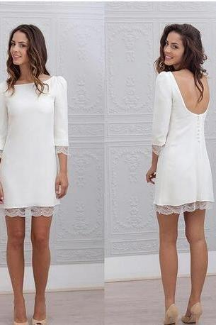 New Designer Short Mini Sheath Wedding Dresses 3/4 Sleeves Sexy Backless Informal Beach Casual Reception Bridal Gowns