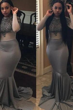 Gray Black Girls Evening Gowns Mermaid Long Sleeve Illusion Bodice Prom Party Dress Lace Appliques With Beads Formal Gowns