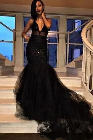 New Custom Made Black Prom Dresses Mermaid Illusion Spaghetti Straps Layers Ruffles Long Train Evening Occasion Gowns