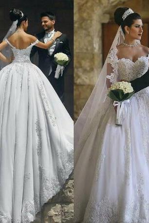 2018 Saudi Arabia Ball Gown Wedding Dresses Cap Sleeves Lace Appliques Crystal Beaded Plus Size Sweep Train Button Back Formal Bridal Gowns
