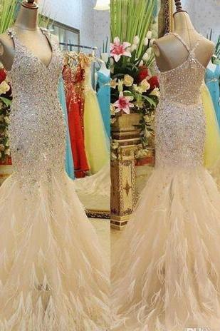 Luxury Crystal Feather Mermaid Bridal Evening Dresses 2018 Champagne Beads Sequined Plus Size Vintage V Neck Formal Prom Party Dress