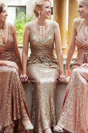 d58cdd3a052 2018 Bling Sequined Bridesmaid Dresses V Neck Sexy Backless Gold Long  Mermaid Wedding Guest Dress Formal