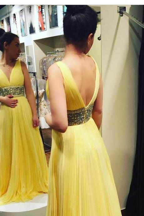 Gorgeous V Neck Empire Yellow Long Prom Dress