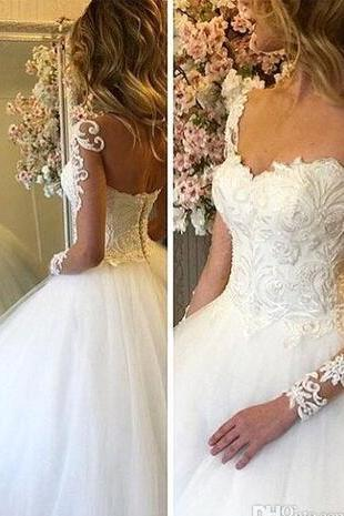 Vintage Elegant A Line Country Wedding Dresses 2018 Sweetheart Sheer Long Sleeves Lace Appliqued Bridal Gowns Custom Made