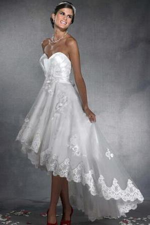 High-low A-line Wedding Dresses Sweetheart Organza Lace Hem Romantic Flowers Gorgeos Beach Informal Bridal Reception Gowns