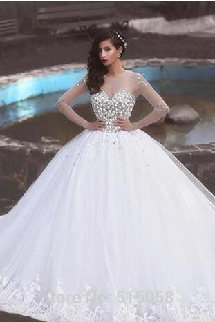 Luxury Sheer Long Sleeve Arabic Wedding Dress 2018 Crystals Beaded Pearls Princess Puffy Tulle Ball Gown Wedding Gowns with Lace Appliques