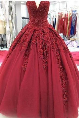 2018 Real Picture Dark Red Sweet 16 Dresses Formal Evening Wear Lace Applique Beading Corset Ball Gown Quinceanera Prom Wear For Sixteen