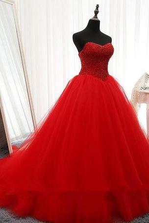 Red Beaded Embellished Sweetheart Floor Length Tulle Prom Gown, Quinceanera Gown