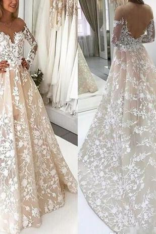Delicate White Lace Appliques A Line Wedding Dresses Sheer Backless Vestidos 2018 New Scoop Neckline Arabic Bridal Gowns Modern Weddings