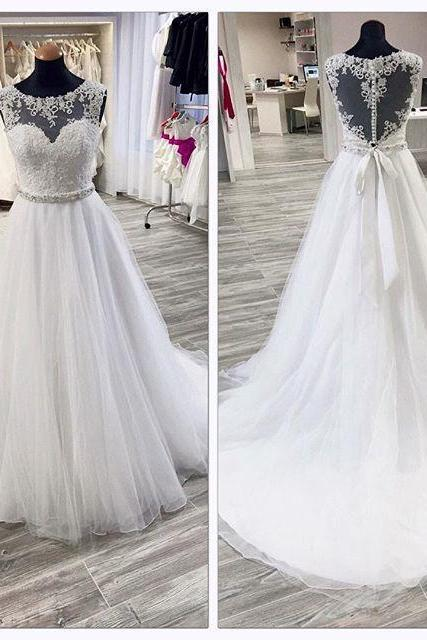 White Lace Appliques Sweetheart Illusion Floor Length Tulle Wedding Gown Featuring Illusion Open Back and Train