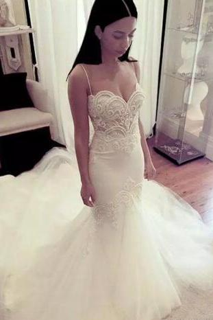 Spaghetti Strap Beaded Lace Mermaid Wedding Dress with Court Train and Lace-Up Back