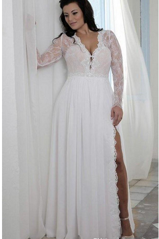 Plunging V Lace A-line Plus Size Wedding Dress with Long Sleeves and High Slit