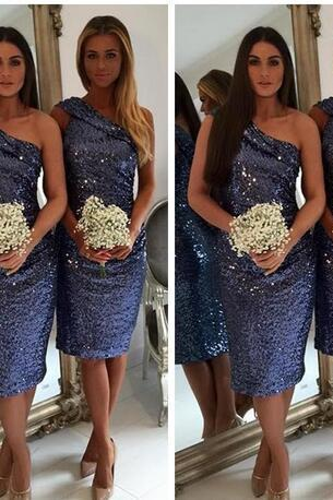 One Shoulder Full Sequins Knee Length Bridesmaid Dresses Short Knee Length Maid of Honor Gowns Plus Size Evening Prom Dress Custom