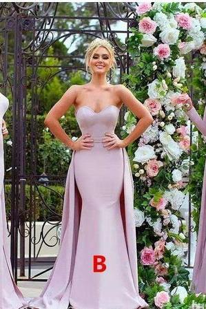Sexy Strapless Stylish Lace Appliqued Long Bridesmaid Dresses Pink Soft Satin Long Sleeve Wedding Guest Dress Maid Of The Honour Gowns