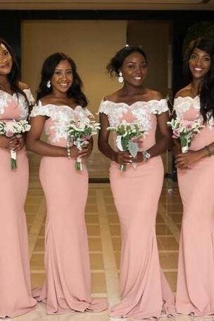 South Africa Style Nigerian Bridesmaid Dresses Plus Size Mermaid Maid Of Honor Gowns For Wedding Off Shoulder Lace Formal Party Dresses