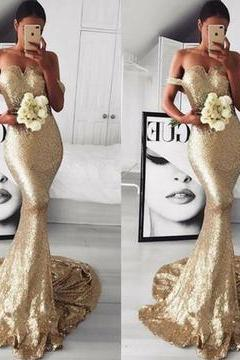 Champagne/Gold Sequins Prom Dress Off shoulder Evening Long Women Formal Gown