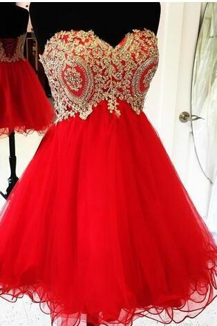 Gold Lace Appliques Short Red Homecoming Dresses 2018 Cocktail Party Dresses Ruffles Tulle Short Prom Dresses