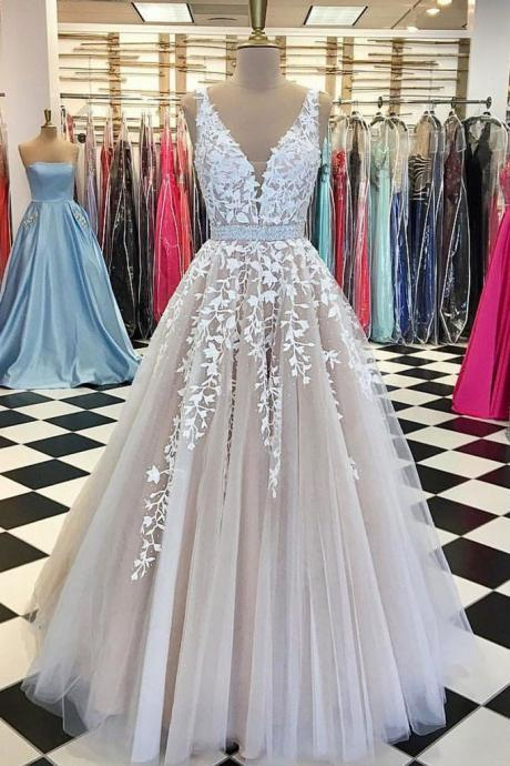 V neck Tulle Lace Long Wedding Dress,Tulle Ball Gown Prom Dress With Applique