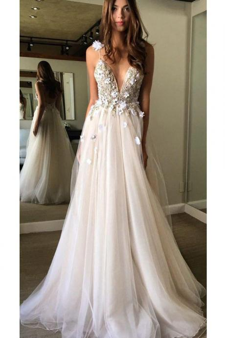 Floral Open Back Deep V-neck Straps Tulle Appliques Prom Dress, Floral Princess Wedding Dress