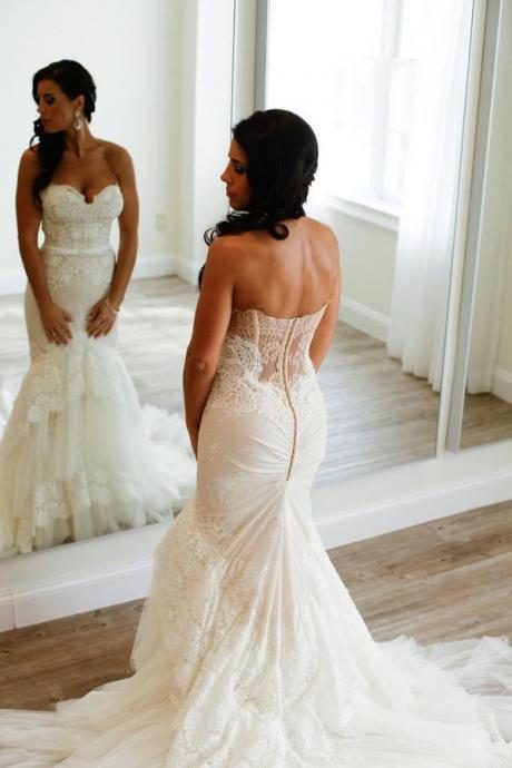 Sweetheart Mermaid Tiered Lace Wedding Dress Ruched with Tulle Court Train