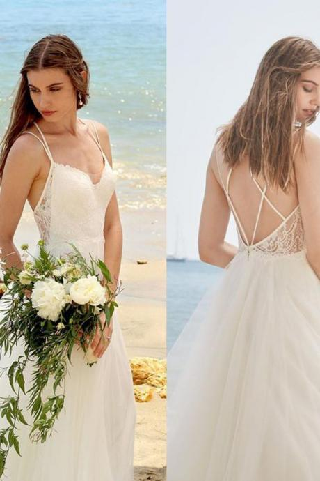 Simple Spaghetti Straps Ivory A Line Tulle Beach Wedding Dress
