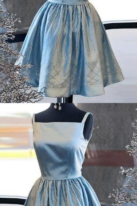 A-Line Square Neck Short Blue Satin Homecoming Dress with Sequins