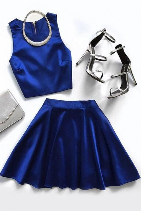 Two Piece Round Neck Royal Blue Satin Homecoming Dress