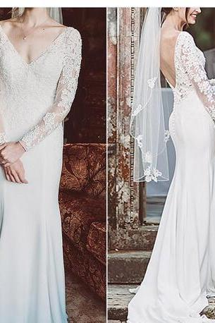 2018 Mermaid Trumpet Wedding Dress Sheer Long Sleeve Lace Satin Modest Bride Gown Backless V Neck Sweep Train