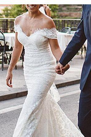 Off the Shoulder Lace Mermaid Wedding Dress Sweetheart Sexy Backless Gorgeous Bridal Gown Court Train Customize