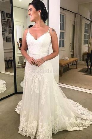 Vestidos de novia 2018 A Line Wedding Dresses Spaghetti Straps Backless Sleeveless Formal Floor Length Lace Bridal Gowns Custom Made Cheap