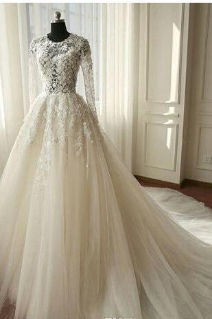 Elegant A-Line Wedding Dress 2018 Summer Scoop Chapel Train Tulle 3D Lace Appliques Long Sleeves Zipper-Up Bridal Gowns Custom Made