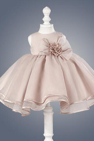 New O-neck Sleeveless Little Flower Girl Dresses Elegant Big Bow Girl Dress Princess Ball Gown for Wedding Party Kids Pageant Dress