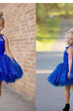 Royal Blue Ball Gown Flower Girl Dresses Jewel Sleeveless Lace Appliques Beaded Kids Formal Wear Pageant Girl Dresses