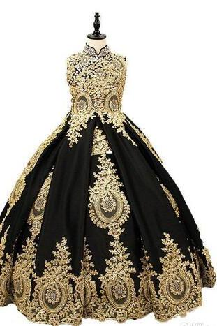 Real Pictures Custom Made Flower Girls Dress Gold Lace Black Satin High Neck Girl Communion Dresses Pageant Ball Gowns Party Dress For Girls